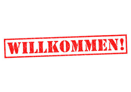 willkommen: WILLKOMMEN  Rubber Stamp over a white background  Stock Photo