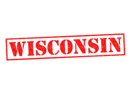WISCONSIN Rubber Stamp over a white background  photo