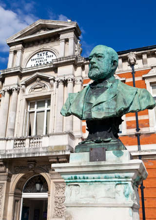 henry: A bust dedicated to Sir Henry Tate situated outside the Tat Public Library in Brixton, London