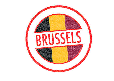 brussels: Passport-style BRUSSELS rubber stamp over a white .