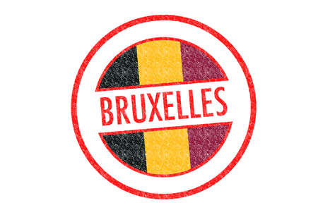 Passport-style BRUXELLES rubber stamp over a white . photo