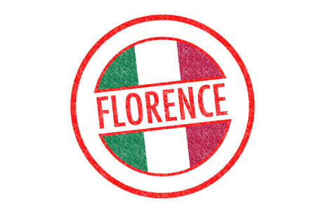 Passport-style FLORENCE rubber stamp over a white background. photo