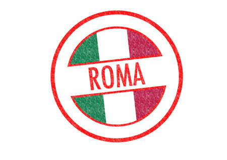Passport-style ROMA rubber stamp over a white . photo