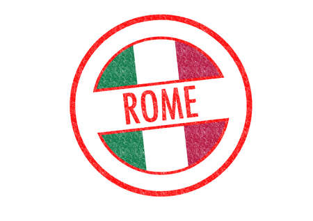 Passport-style ROME rubber stamp over a white background. photo