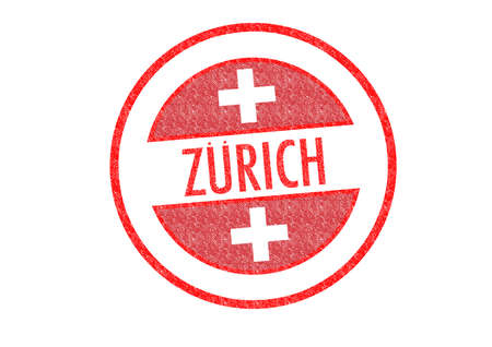 Passport-style ZURICH rubber stamp over a white background. photo