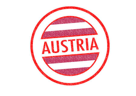 Passport-style AUSTRIA rubber stamp over a white background. photo