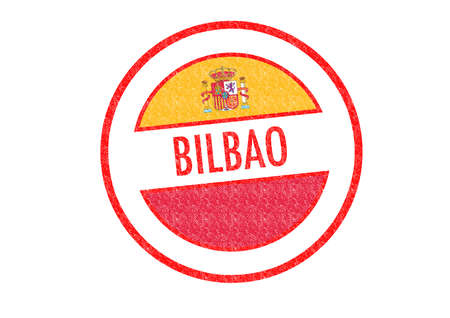 bilbao: Passport-style BILBAO rubber stamp over a white background.
