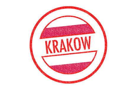 Passport-style KRAKOW rubber stamp over a white background. photo