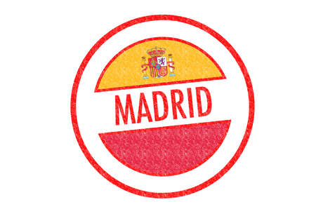 Passport-style MADRID rubber stamp over a white background. photo