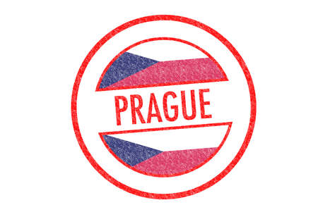 Passport-style PRAGUE rubber stamp over a white background. photo