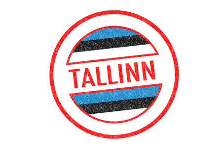 Passport-style TALLINN rubber stamp over a white background. photo