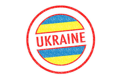 Passport-style UKRAINE rubber stamp over a white background. photo