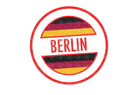 Passport-style BERLIN rubber stamp over a white background. photo