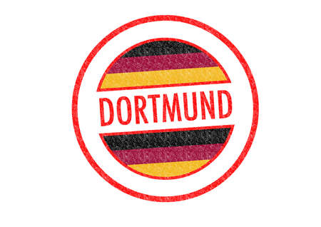 Passport-style DORTMUND rubber stamp over a white background. photo