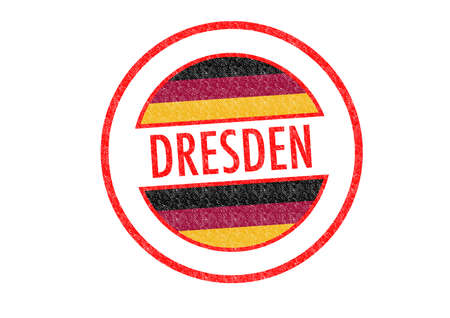Passport-style DRESDEN rubber stamp over a white background. photo