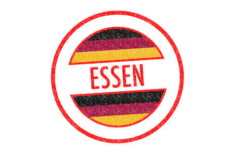 Passport-style ESSEN rubber stamp over a white background. photo