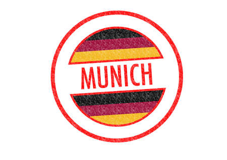 Passport-style MUNICH rubber stamp over a white background. photo