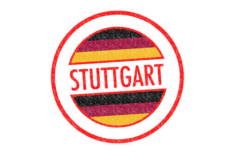 Passport-style STUTTGART rubber stamp over a white background. photo