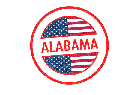 Passport-style ALABAMA rubber stamp over a white background. Stock Photo - 23147434
