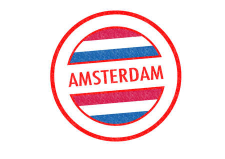 Passport-style AMSTERDAM rubber stamp over a white background. photo