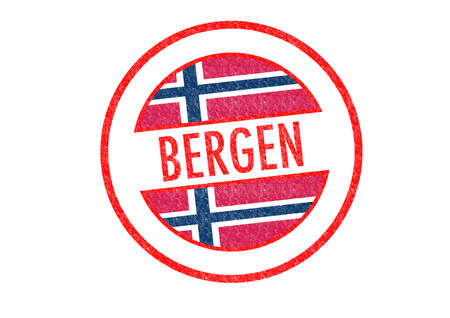 Passport-style BERGEN rubber stamp over a white background. photo