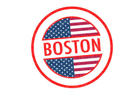 Passport-style BOSTON rubber stamp over a white background. photo