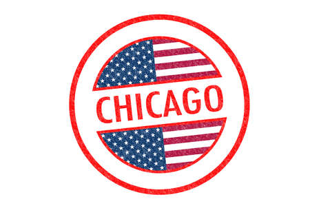 Passport-style CHICAGO rubber stamp over a white background. photo