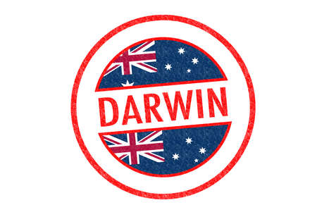 darwin: Passport-style DARWIN rubber stamp over a white background. Stock Photo
