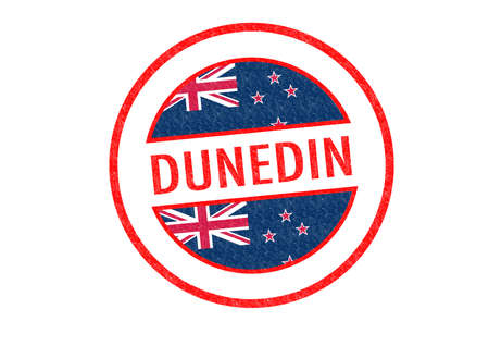 Passport-style DUNEDIN rubber stamp over a white background. photo