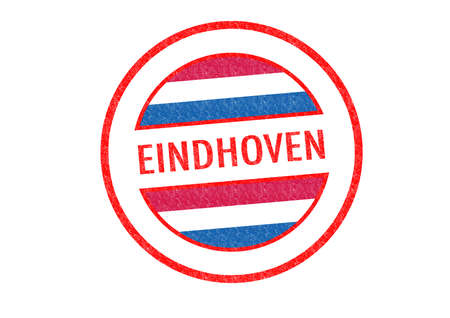 Passport-style EINDHOVEN rubber stamp over a white background. photo