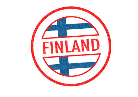 Passport-style FINLAND rubber stamp over a white background. photo