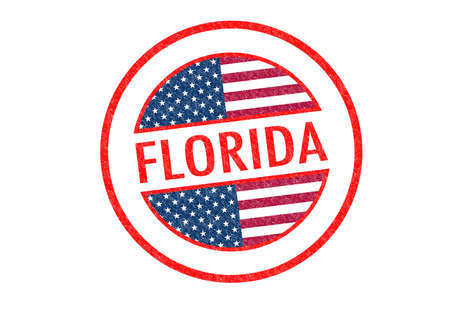 sunshine state: Passport-style FLORIDA rubber stamp over a white background.