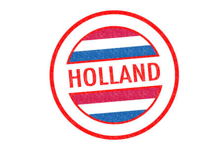 Passport-style HOLLAND rubber stamp over a white background. photo
