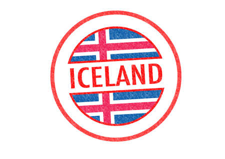 Passport-style ICELAND rubber stamp over a white background. photo