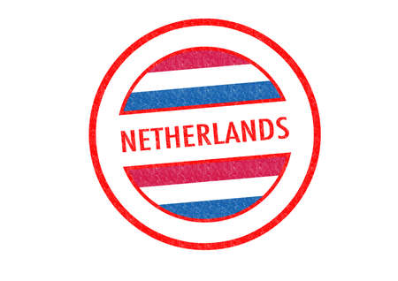Passport-style NETHERLANDS rubber stamp over a white background. photo