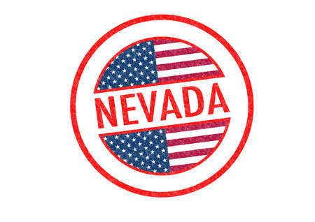 Passport-style NEVADA rubber stamp over a white background. photo