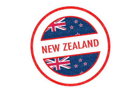 Passport-style NEW ZEALAND rubber stamp over a white background. photo