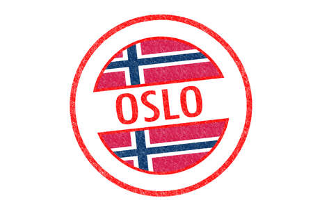 Passport-style OSLO rubber stamp over a white background. photo