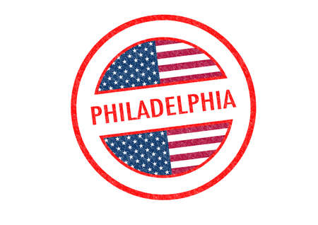 Passport-style PHILADELPHIA rubber stamp over a white background. photo