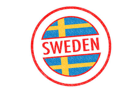 Passport-style SWEDEN rubber stamp over a white background. photo