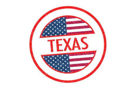 houston flag: Passport-style TEXAS rubber stamp over a white background. Stock Photo
