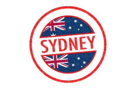 Passport-style SYDNEY rubber stamp over a white background. photo