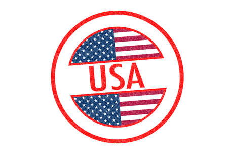 Passport-style USA rubber stamp over a white background. photo