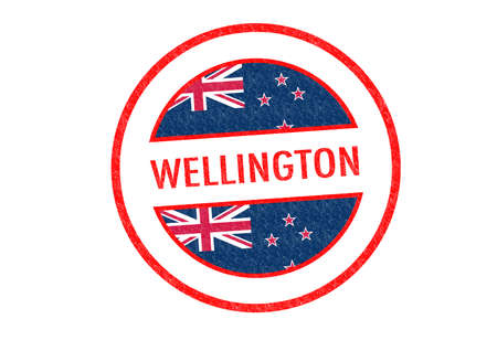 Passport-style WELLINGTON rubber stamp over a white background. photo