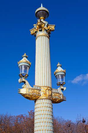 The Beautiful Architecture Of The Lamp Posts Around Place De La Concorde In  Paris Stock