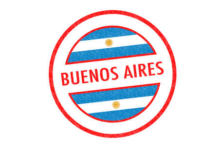 aires: Passport-style BUENOS AIRES rubber stamp over a white background. Stock Photo