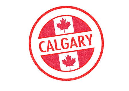 Passport-style CALGARY rubber stamp over a white background. photo