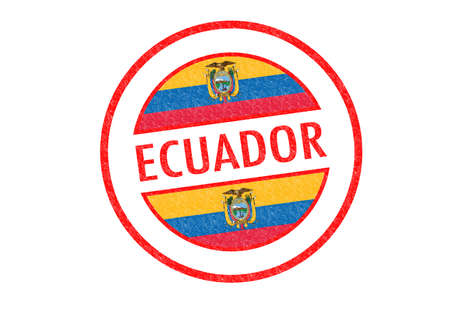 Passport-style ECUADOR rubber stamp over a white background. photo