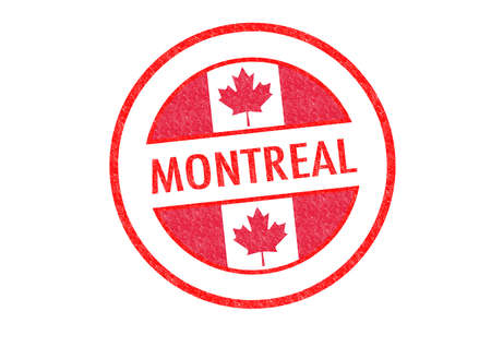 Passport-style MONTREAL rubber stamp over a white background. photo