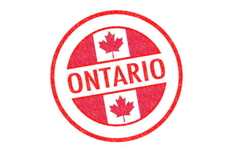 Passport-style ONTARIO rubber stamp over a white background. photo